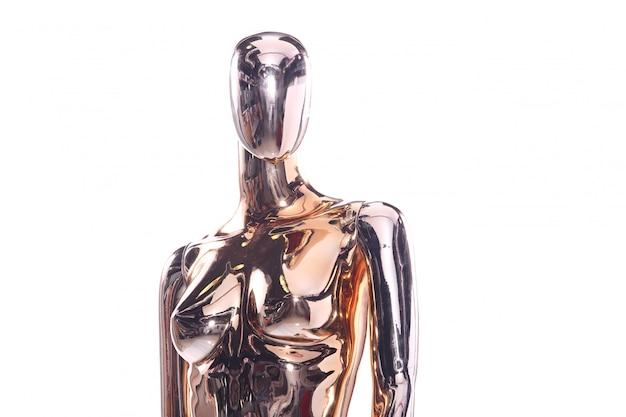 Maniquí metálico, modelo de reflejo brillante, transparente