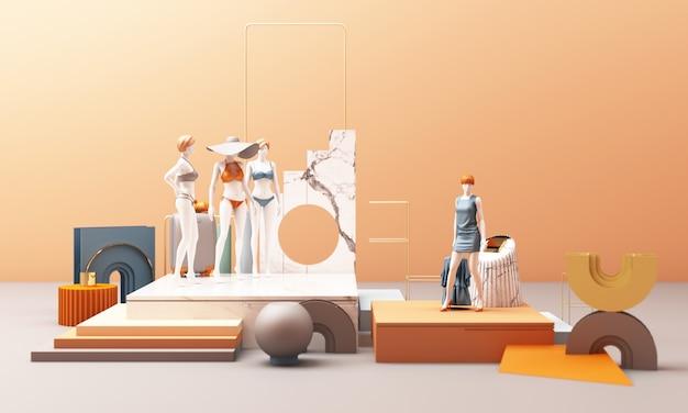 Maniquíes de ropa con representación 3d de color pastel de forma geométrica