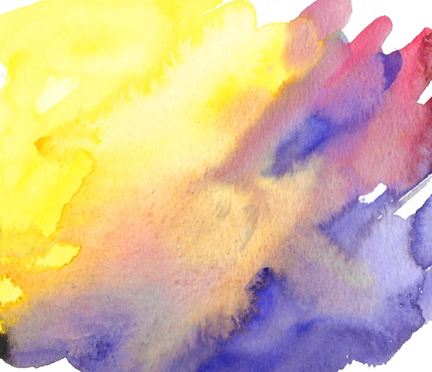 Mano acuarela dibujada fondo amarillo y morado abstracto. trazos de pincel de colores. dibujo amarillo y violeta.