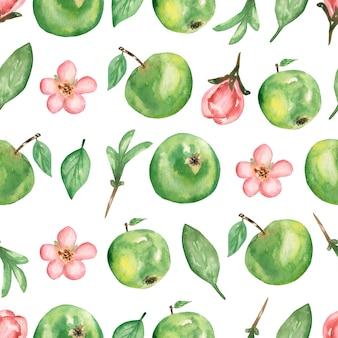 Mano acuarela dibujada de patrones sin fisuras con rama de flores de manzana