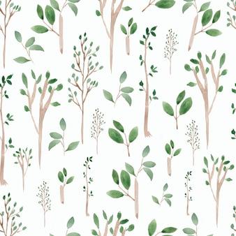 Mano acuarela dibujada verde árbol y ramas de patrones sin fisuras