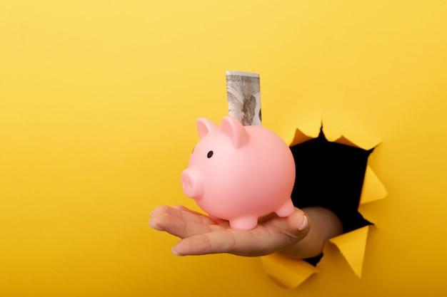 Mano con una alcancía y un billete de dólar a través de un agujero de papel amarillo