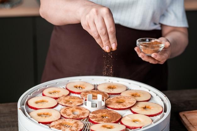 Mano de ama de casa espolvorear canela molida sobre rodajas de manzana fresca en la bandeja superior del secador de frutas mientras prepara la provisión casera