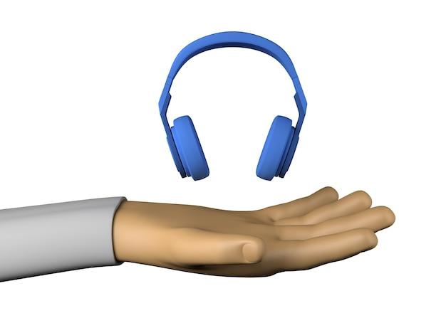 Mano con auriculares. entretenimiento. ilustración 3d.