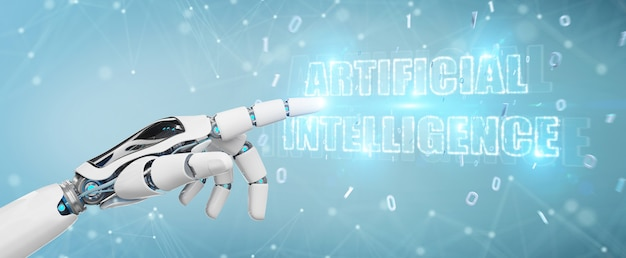 Mano blanca del cyborg usando la representación digital del holograma 3d del texto de inteligencia artificial