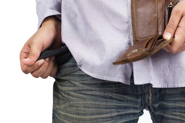 Mano y bolsillo vacío