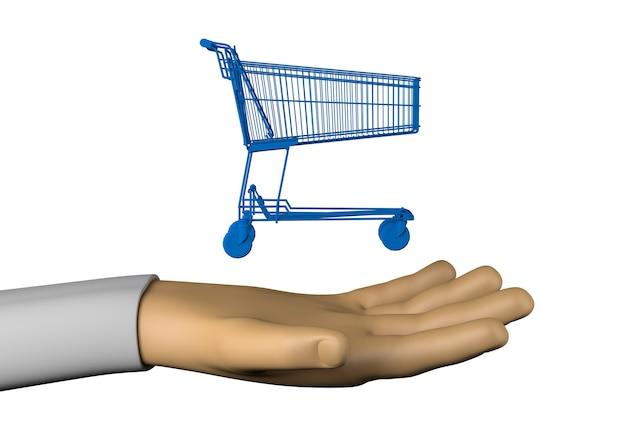 Mano con carrito de compras. ilustración 3d.