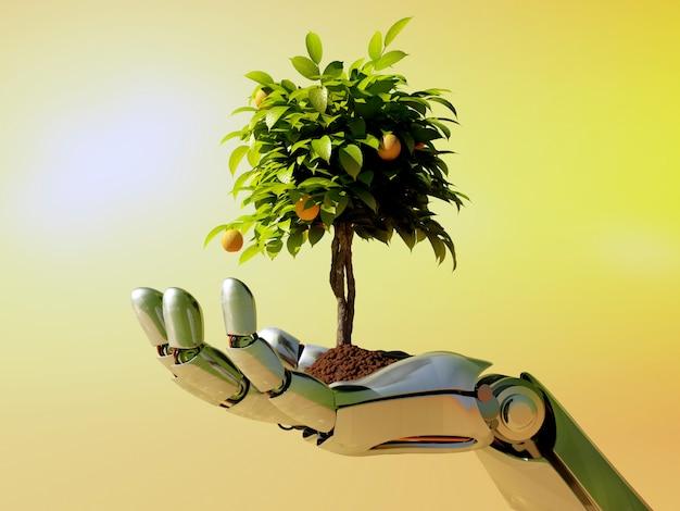 Mano de ciencia ficción con árbol