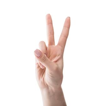 Mano de cultivo gesturing peace