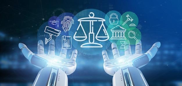 Mano de cyborg sosteniendo una burbuja de icono de ley y justicia con representación 3d de datos