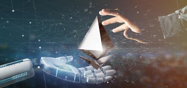 Mano cyborg sosteniendo un signo de moneda ethereum crypto volando alrededor de una conexión de red - representación 3d