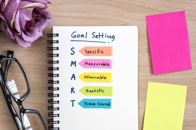 Mano de la definición de escritura para el establecimiento de objetivos inteligentes en el bloc de notas