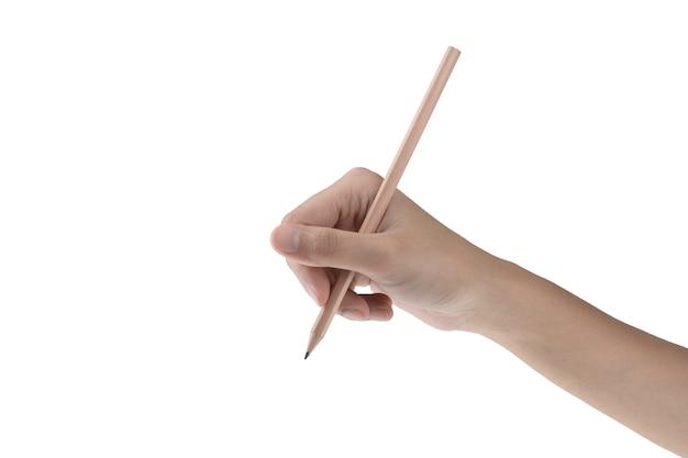 Mano derecha aislada que sostiene el lápiz con el fondo blanco y el camino de recortes