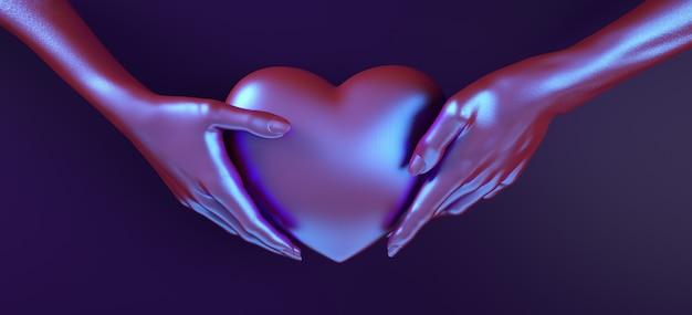 Mano del día de tarjetas del día de san valentín que lleva a cabo la representación del ejemplo del modelo 3d del fondo del corazón. color rojo negrita plano. tarjeta de felicitación de amor, póster, plantilla de banner para fiesta