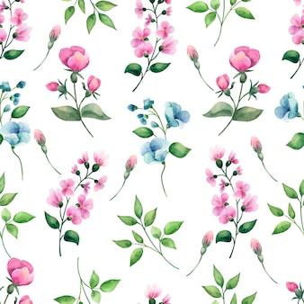 Mano dibujada acuarela de patrones sin fisuras con flores.