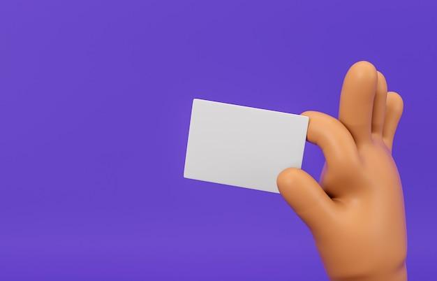 Mano de dibujos animados 3d que sostiene la maqueta de la tarjeta en blanco sobre fondo aislado.