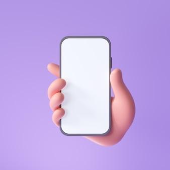 Mano de dibujos animados en 3d que sostiene el teléfono inteligente aislado en la mano de fondo púrpura con maqueta de teléfono móvil
