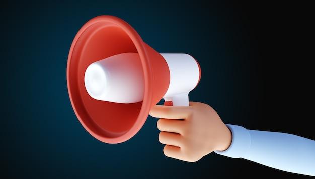 Mano de dibujos animados con megáfono. símbolo de publicidad y promoción. ilustración 3d