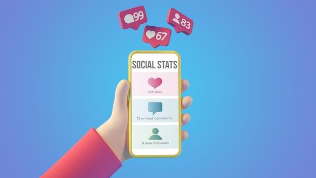 Mano de dibujos animados con notificaciones de teléfonos inteligentes y redes sociales representación 3d aislada