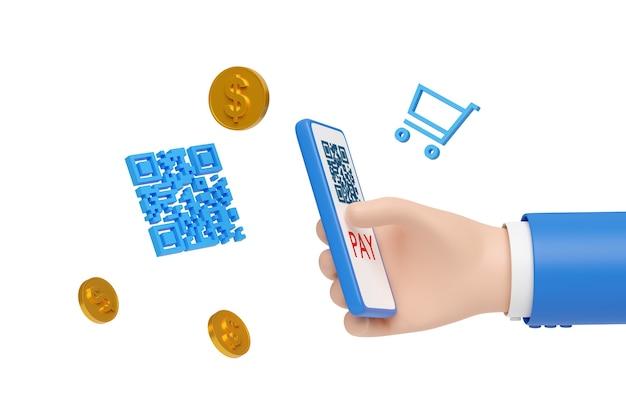 Mano de dibujos animados pagando con un teléfono móvil y un código qr aislado.