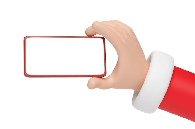 Mano de dibujos animados de santa claus sosteniendo un teléfono móvil con pantalla en blanco. concepto de navidad.