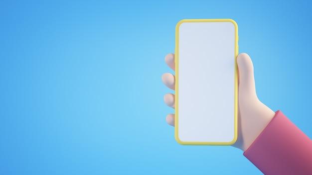 Mano de dibujos animados con smartphone en blanco amarillo