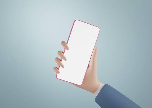 Mano de dibujos animados sosteniendo smartphone aislado. representación 3d