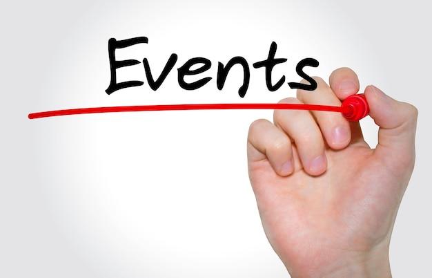 Mano escribir eventos de inscripción con marcador, concepto, imagen de stock
