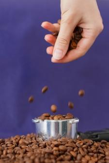 Mano femenina vertiendo los granos de café en la manipulación de café en la violeta