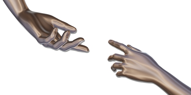Mano de hierro robot mano llegar a cumplir con la ilustración 3d de fondo blanco