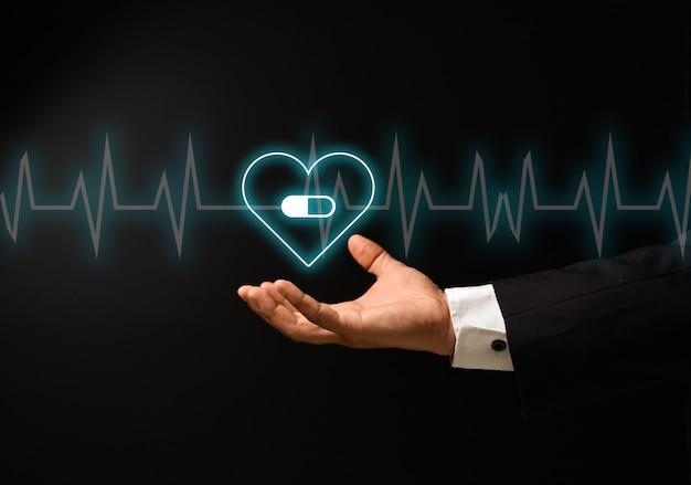 Mano del hombre con diseño de concepto de salud