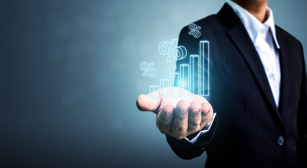Mano de hombre de negocios mostrar icono signo 3d por ciento con gráfico
