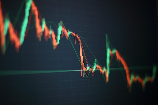 Mano de hombre de negocios trabajando en el análisis de gráficos de inversión para el mercado del oro, el mercado de divisas y el mercado comercial.