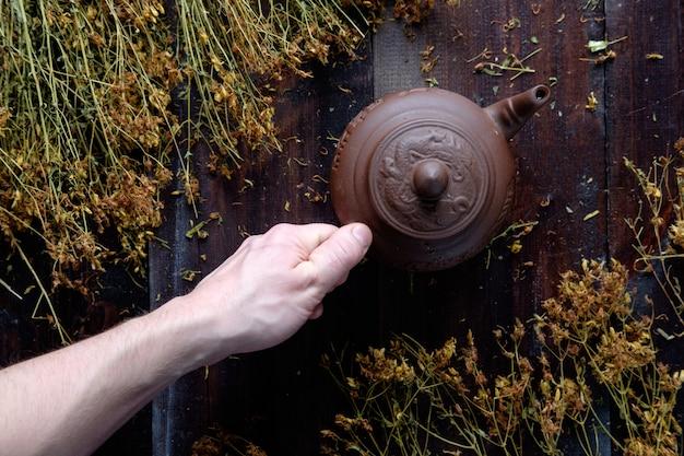 Mano del hombre que sostiene la tetera de arcilla de té verde a base de hierbas