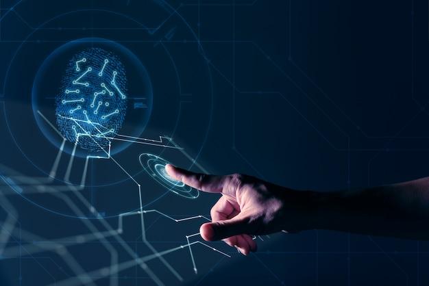 La mano del hombre que trabaja en la pantalla digital con huella digital de identificación personal de seguridad