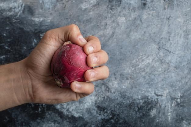 Mano de hombre sosteniendo una cebolla morada sobre un fondo gris.