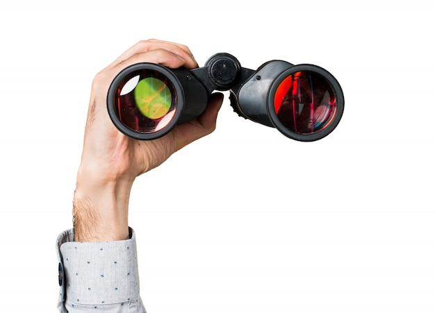 Mano, hombre, tenencia, binoculares