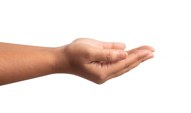 La mano humana aislada en blanco