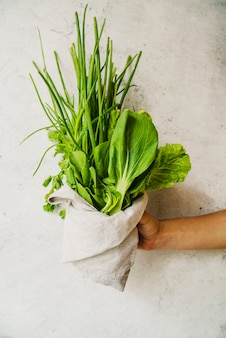 Mano humana mostrando verdura verde envuelta en tela.
