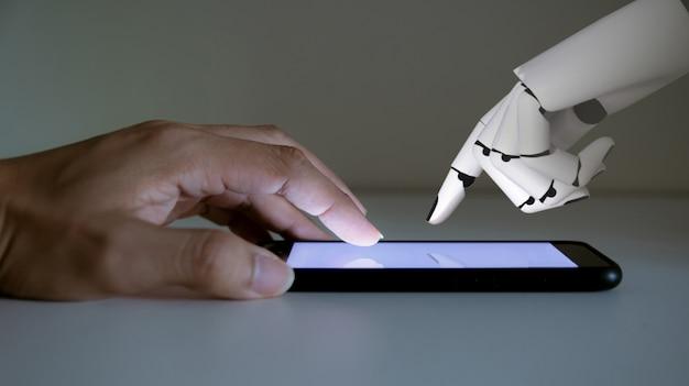 Mano humana y robot mano tecnología de inteligencia artificial smartphone con pantalla táctil