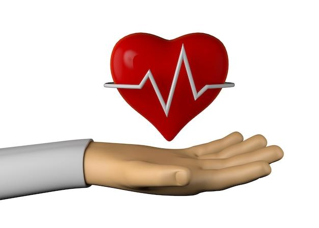 Mano con icono de frecuencia cardíaca. ilustración 3d.