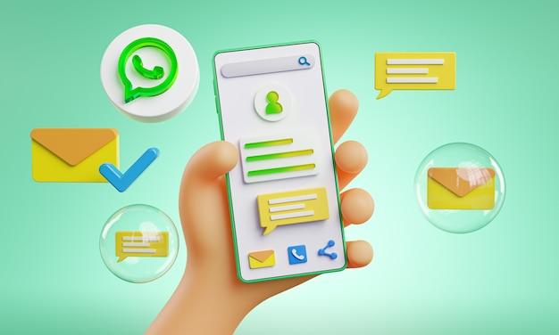 Mano linda que sostiene los iconos de whatapp del teléfono alrededor de la representación 3d
