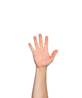 Una mano masculina con la palma abierta y el dedo apuntando hacia arriba.