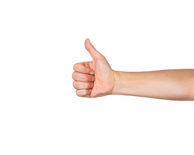 Mano masculina en el puño con el pulgar abierto hacia arriba en gesto like sobre fondo blanco
