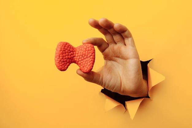 Mano masculina que muestra una tiroides de un agujero rasgado en la pared de papel amarillo.