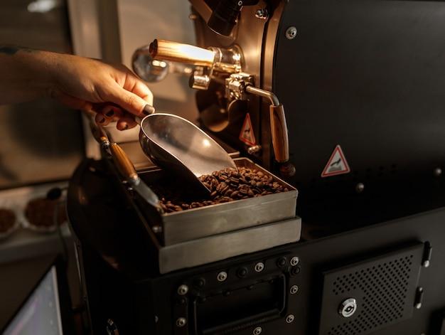 Mano masculina sosteniendo la cuchara de metal con granos de café.