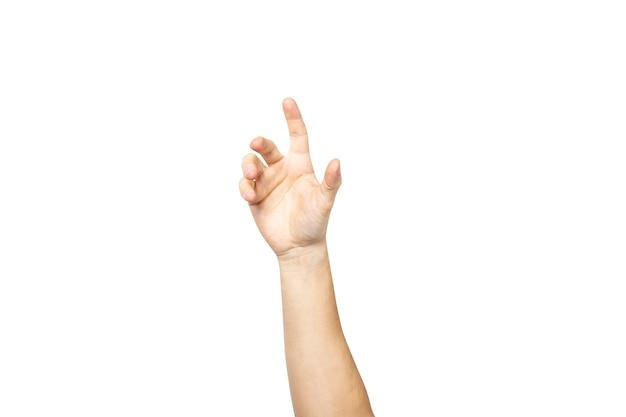 Mano masculina vacía sosteniendo la palma hacia arriba aislado