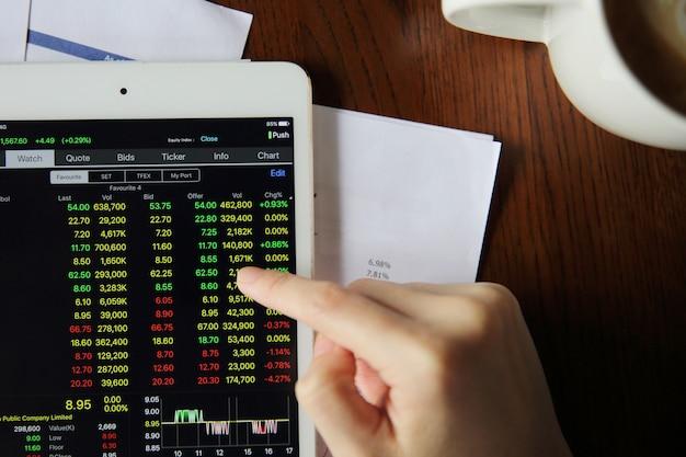 Mano de mujer de comercio en línea en la tableta con el documento comercial y el café