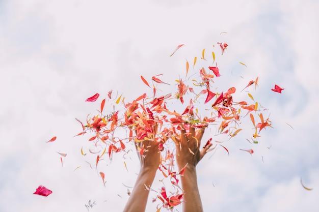 Mano de mujer lanzando pétalos de flor roja contra el cielo.