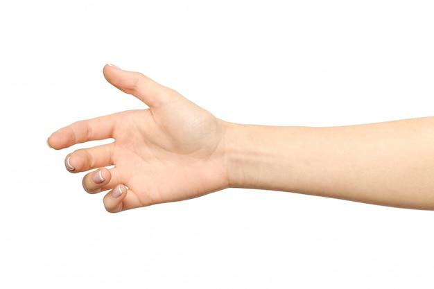 Mano de mujer lista para apretón de manos